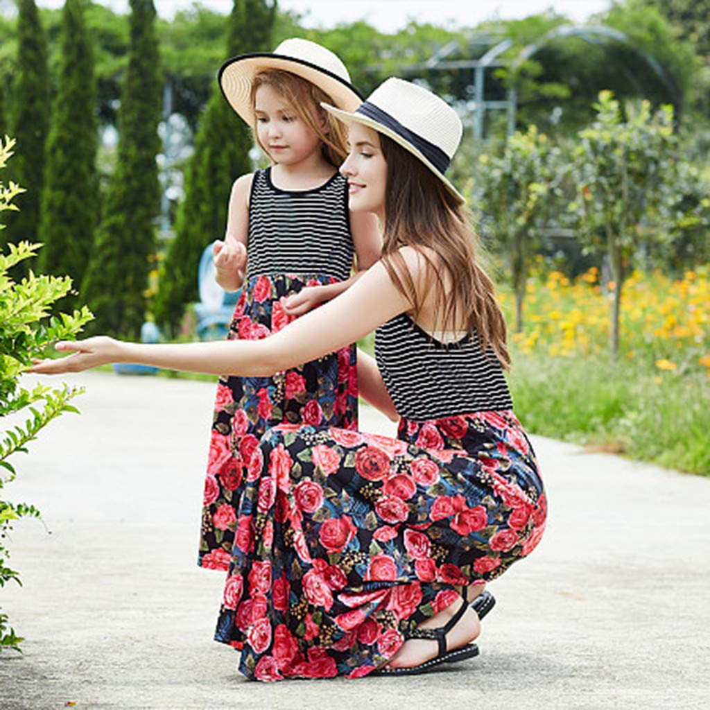Tantisy /♣↭/♣ Family Matching Outfits ✿ Mommy and Girl Black White Striped Sleeveless Top Stitching Red Floral Dresses