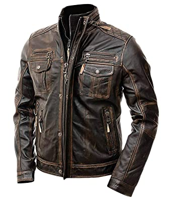 3a18f0a37d1a Slim Fit Motorcycle Biker Vintage Distressed Brown Cafe Racer Real Leather  Jacket for Mens at Amazon Men s Clothing store