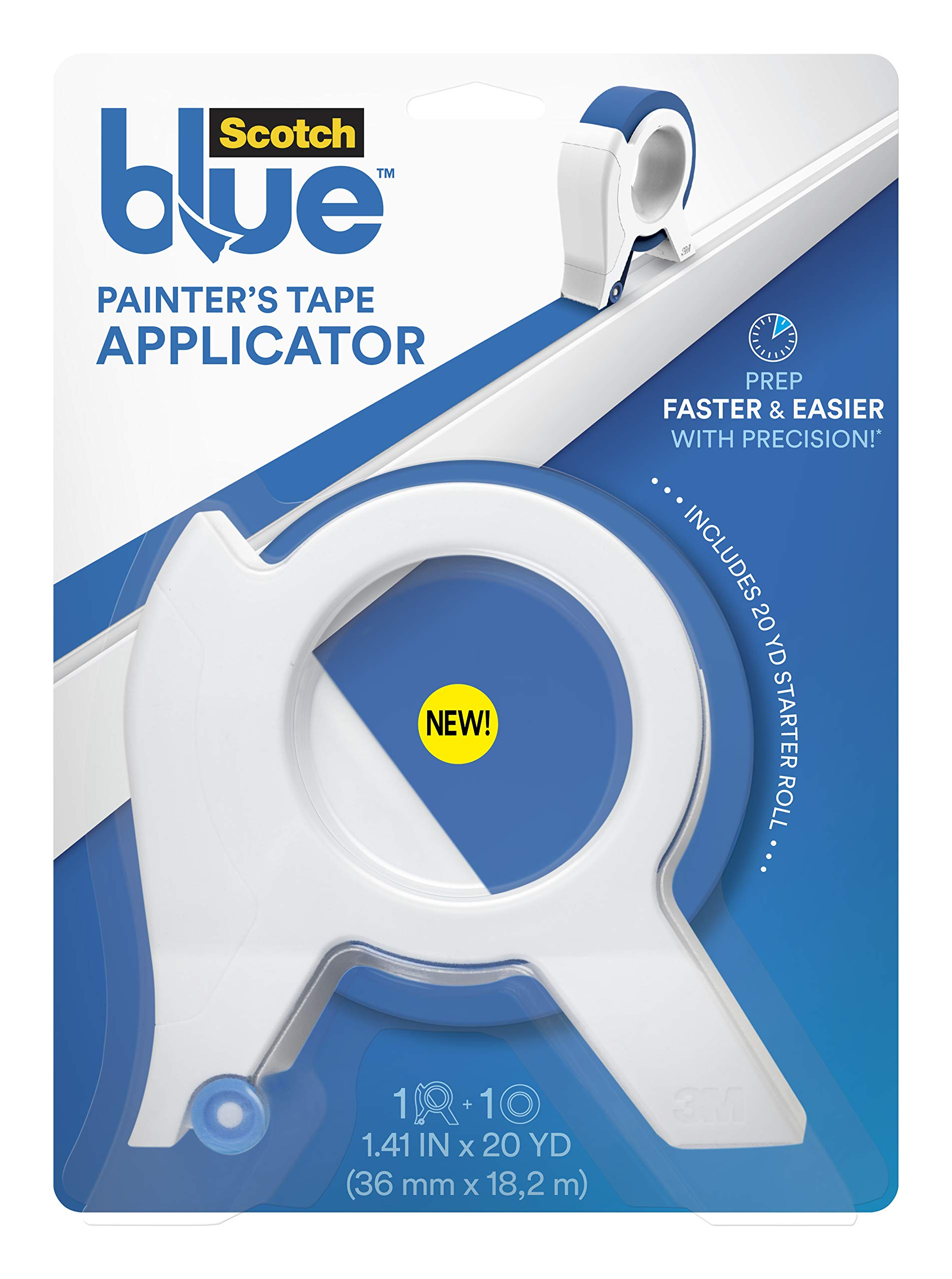 ScotchBlue TA3-SB Painter's Tape Applicator, Blue, with 1 Starter Roll 1.41 in. x 20 yd, by ScotchBlue