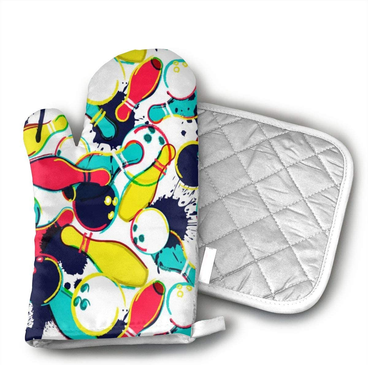 NOT Abstract Watercolor Bowling Ball Oven Mitts,Heat Resistant Oven Gloves Insulation Thickening Cotton Gloves Baking Kitchen Cooking Mittens with Soft Inner Lining