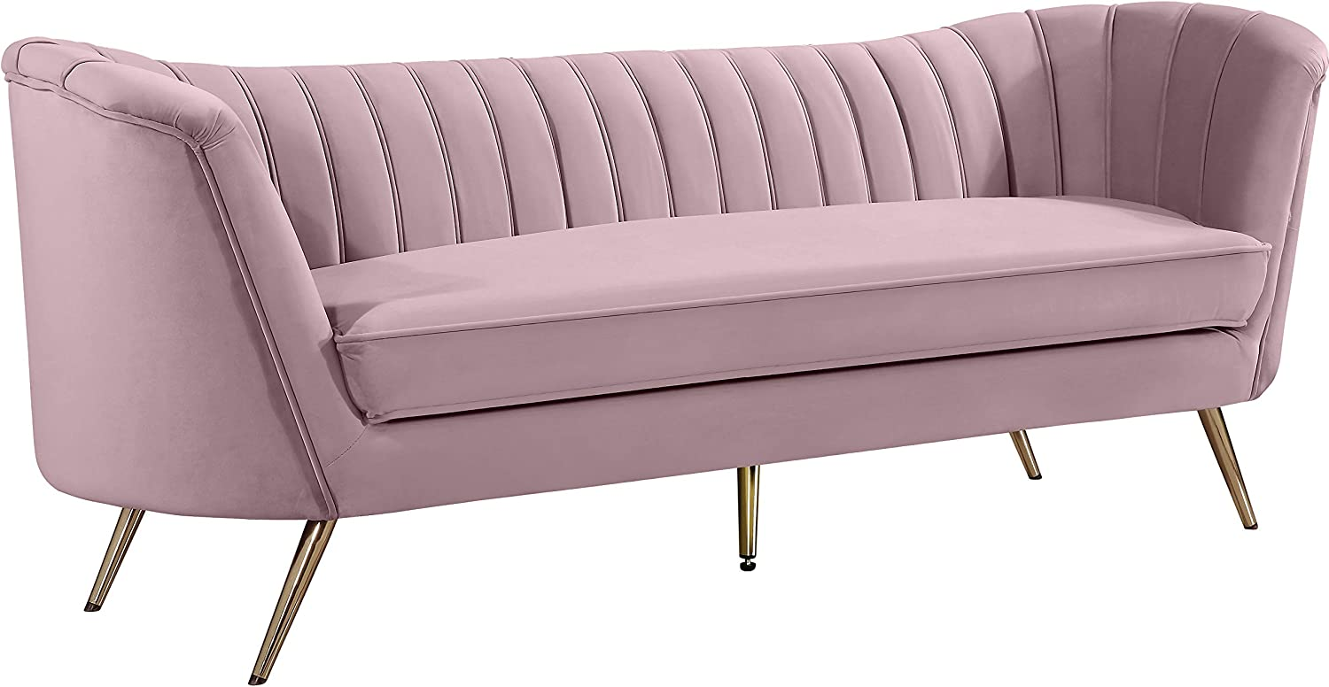 "Meridian Furniture Margo Collection Modern | Contemporary Velvet Upholstered Sofa with Deep Channel Tufting and Rich Gold Stainless Steel Legs, Pink, 88"" W x 30"" D x 33"" H"