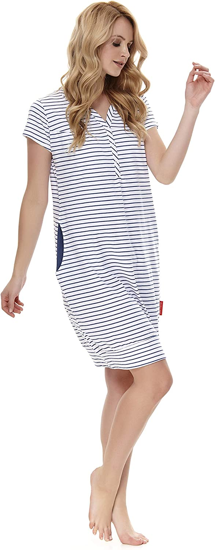dn-nightwear TM.8061 camicia da notte da donna 100/% cotone