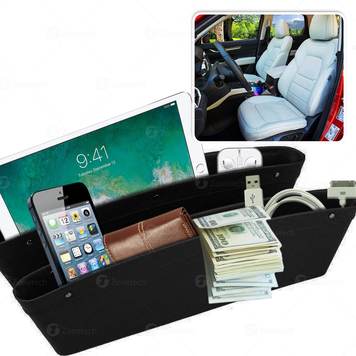 Car Seat Gap Filler Pocket Organizer Wallet Zone Tech Classic Black Premium Quality Coin Side Pocket Filler Gap Organizer for Phones and Many More
