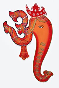 Ethnic Handmade Indian Art Wall Hanging of God Ganesha with Spiritual Om - Orange & Red Combination Colours