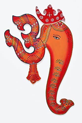 Ethnic Handmade Indian Art Wall Hanging of God Ganesha with Spiritual Om – Orange Red Combination Colours