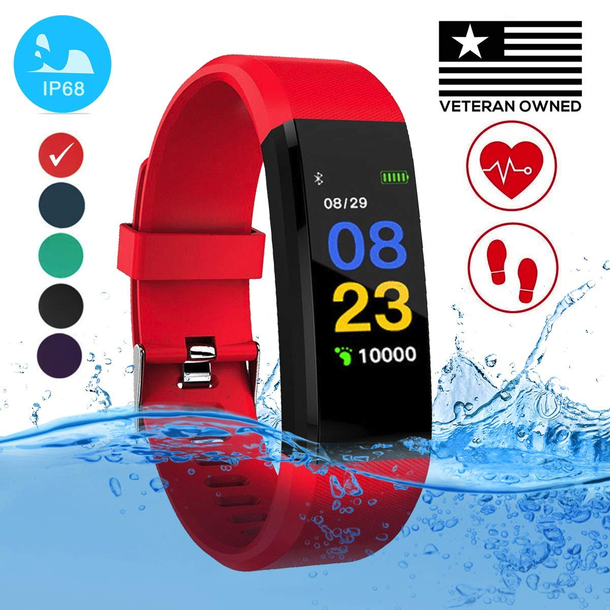 Burn-Rate Fitness Tracker Heart Rate Monitor - Smart Watches for Women & Men, Kids Color Smart Watch Fit Bracelet. Reloj Inteligente band Pedometer, Waterproof, Distance Activity bit for Android & iOS by Burn-Rate Fitness 115plus