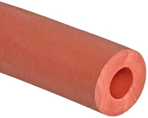 "Thomas 1889 Gum Rubber Red Extruded Vacuum Tubing, 1-1/2"" OD x 3/4"" ID x 3/8"" Wall Thick, 10' Length"