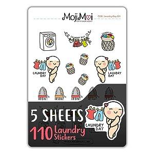 Laundry Day-Theme Stickers for Life Planner, Functional Stickers, Happy Planner, Cute Stickers, kawaii Stickers, Eclp Stickers, Erin Condren Planner Stickers, Kikki Stickers, MojiMoi