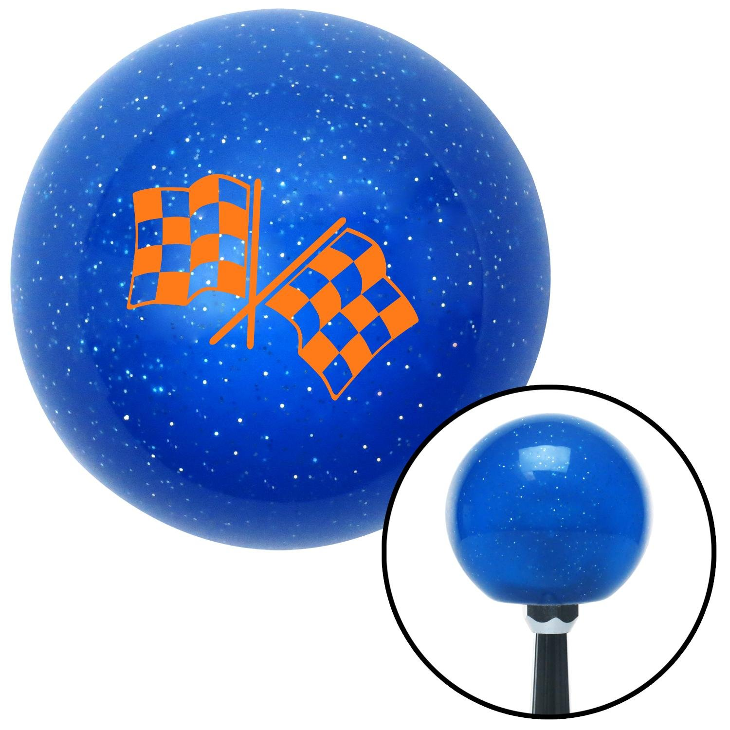 Orange 2 Checkered Race Flags American Shifter 20772 Blue Metal Flake Shift Knob