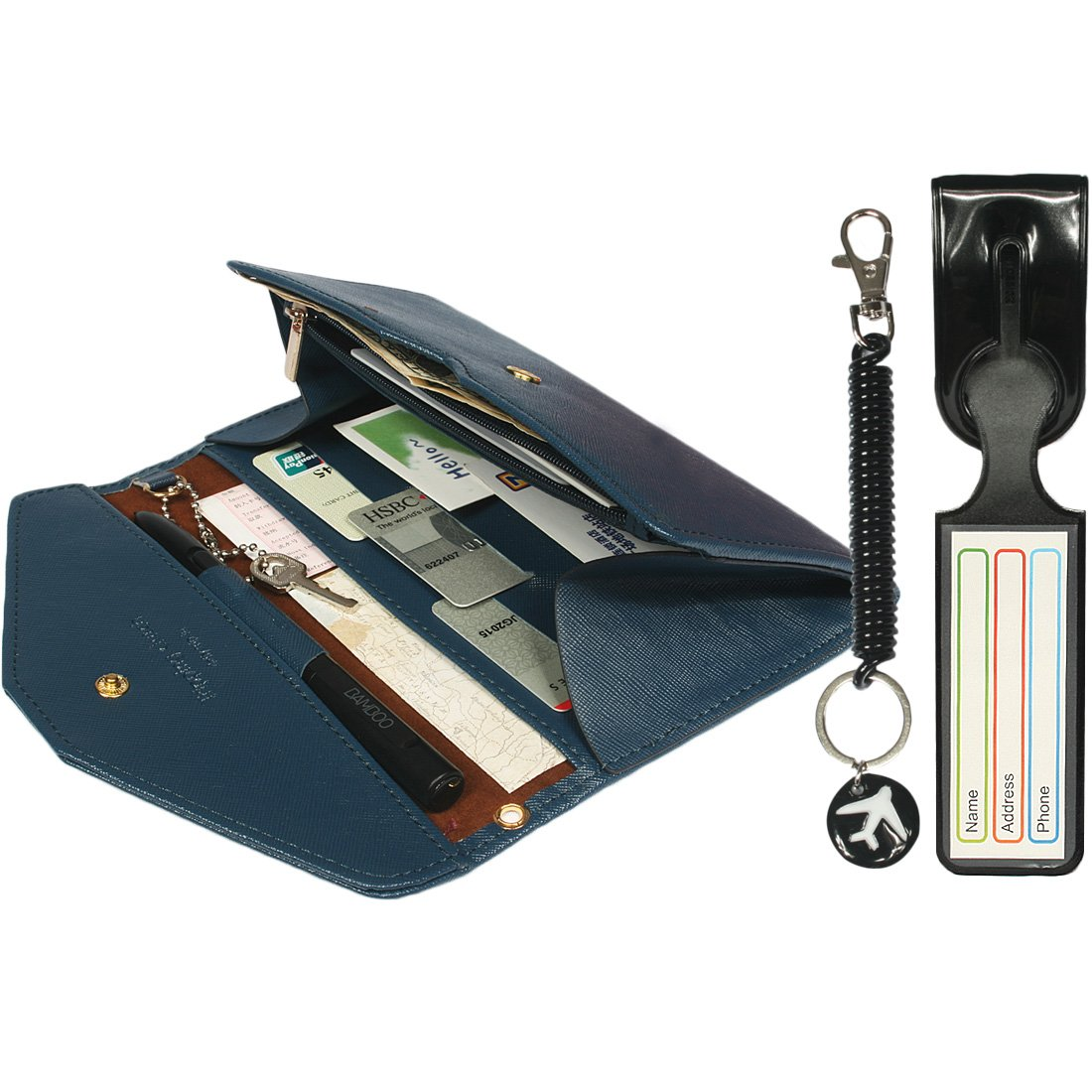 kilofly Multi Pocket Passport Wallet + Luggage Tag + Coil Keychain Travel Combo 31492