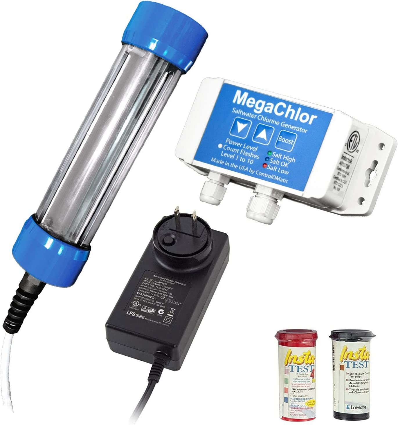 MegaChlor DO Salt Water Pool and Swim Spa Chlorine Generator, Drape Over Easy Install with 10 Power Levels, Boost Mode and Control Box