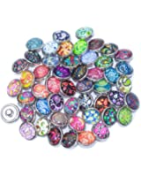 Soleebee Glas Aluminium 12mm Click Button Schmuck Charms Set 30 Stück - Cashew-Blume
