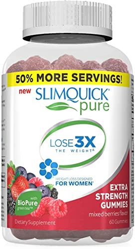 SLIMQUICK Pure Weight Loss, Gummies, Mixed Berries Flavor 60 ea Pack of 3