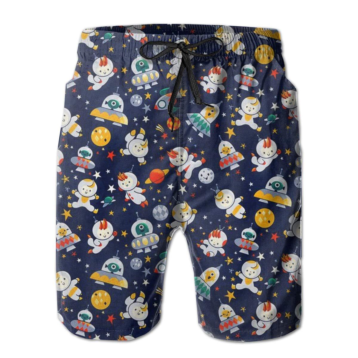 RADCRAVEN Mens Swim Trunks Cute Astronaut Beach Shorts Quick Dry Mesh Lining Board Shorts Swimwear with Pockets