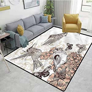 TableCoversHome Hummingbird Print Area Rug Modern, Birds Butterflies Art Pattern Printing Carpet, Durable Carpet Area Rug - Living Dinning Room Bedroom Rugs and Carpets (2.5'x 9')