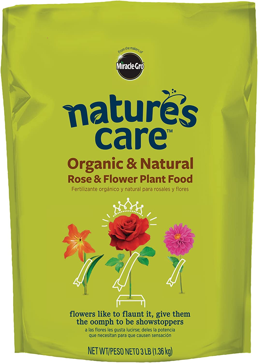 Miracle-Gro Nature's Care Organic & Natural Rose & Flower Plant Food Fertilizer