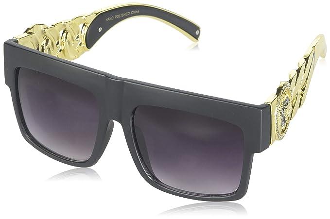 9f491345a757b Black Gold Link Chain Medallion Wayfarer Sunglasses CHN-1