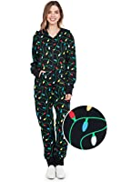 Tipsy Elves Women's and Men's Unisex Black Christmas Lights Jumpsuit - Ugly Christmas Sweater Party Adult Onesie
