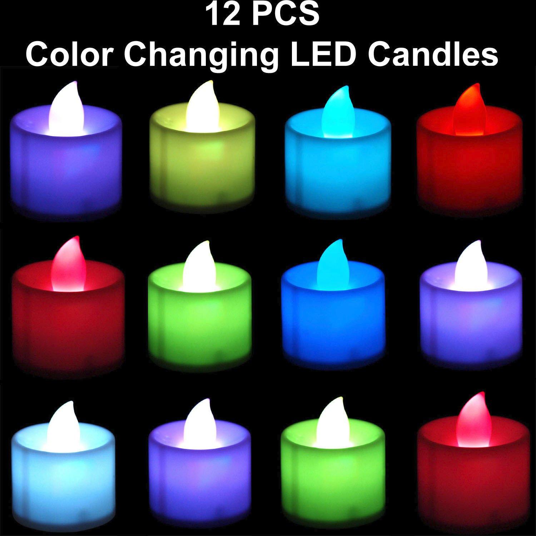 Led à changement de couleur sans flamme Bougies chauffe-plat batterie Operated-12pcs./Lot Dollar Seller A039