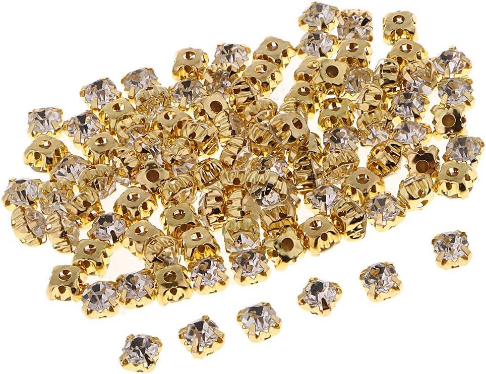 100x Flatback Brillo Piedras Cristal Piedras Preciosas Estrás para Coser 6 Mm Elaboración de Puntadas para Coser en Ropa Deco - 6mm oro