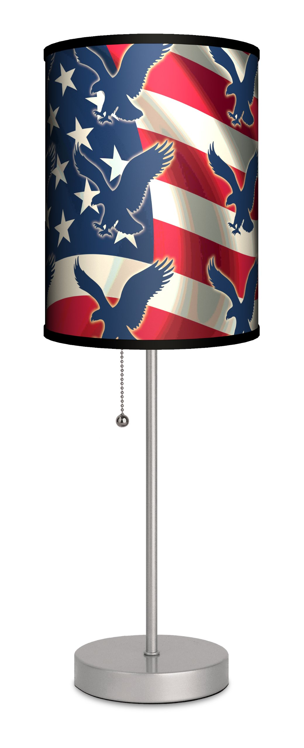 Lamp-In-A-Box SPS-TRV-FLEAG Travel Flag with Eagle Pattern Sport Silver Lamp, 7'' x 7'' x 20''
