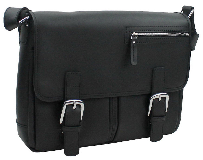 Vagabond Traveler 16'' Cowhide Leather Messenger Bag LM10.BLK