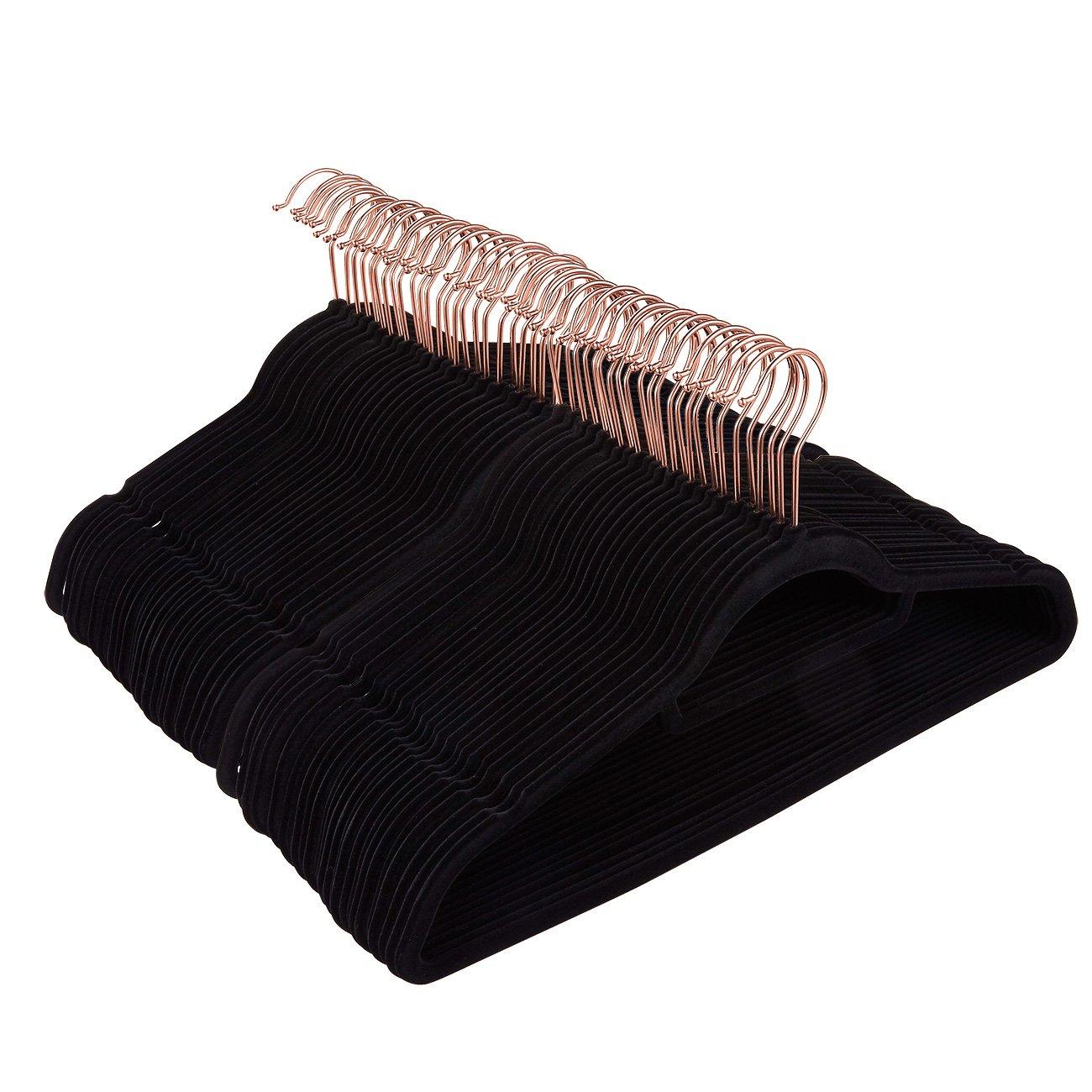 Juvale 50 Pack Black Velvet Hangers - Non Slip Hangers with Rose Gold Hooks and Accessory Bar - Thin Hangers - Non Slip Hangers, Black, 17.5 x 9.2 x 0.2 Inches