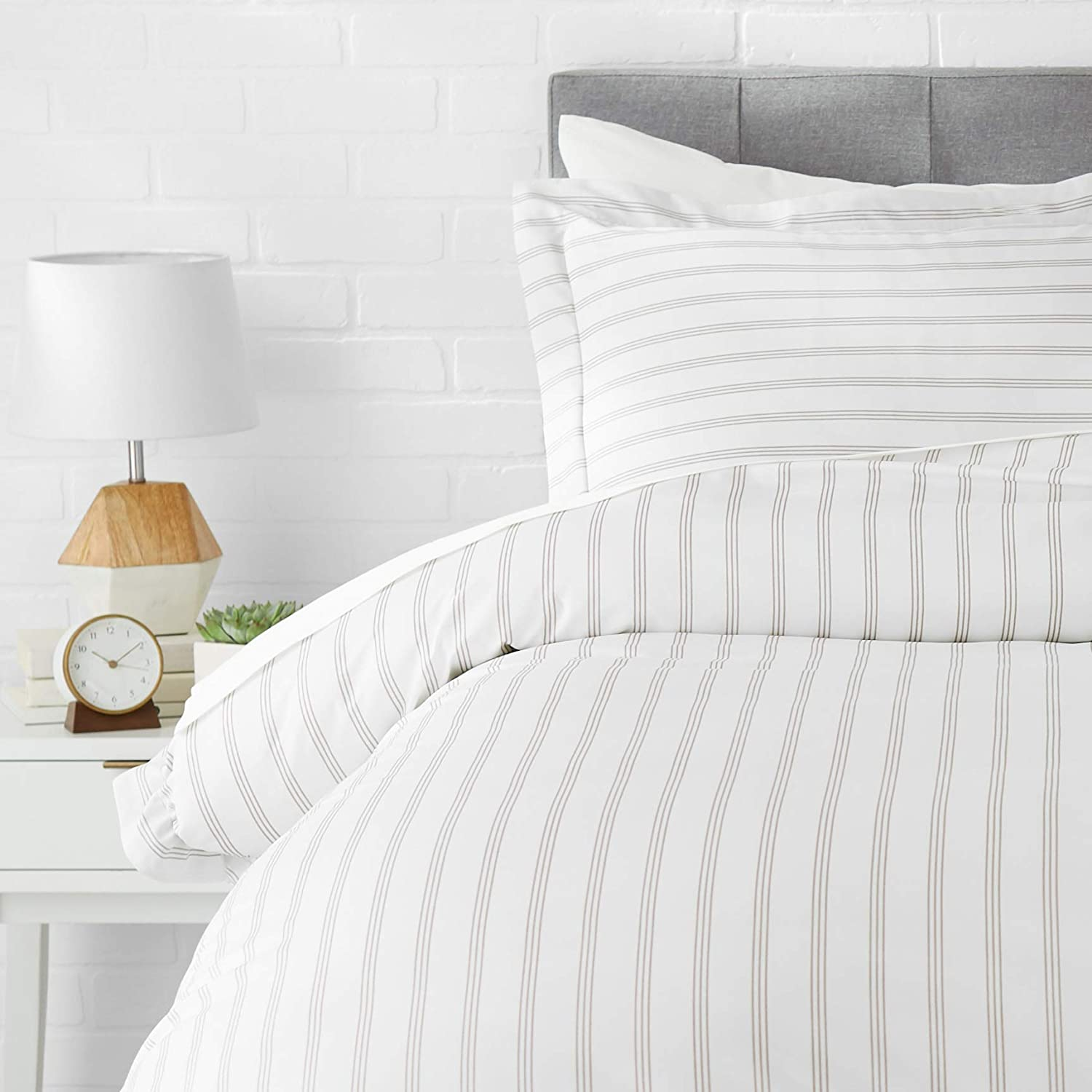 AmazonBasics Light-Weight Microfiber Duvet Cover Set - Twin/Twin XL, Taupe Stripe