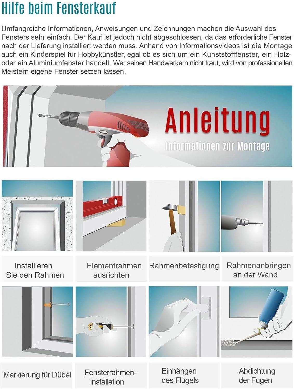 2 fach Verglasung Premium wei/ß BxH: 40x65 cm Breite: 40 cm x H/öhe: Alle Gr/ö/ßen Kippfenster Fenster Kellerfenster