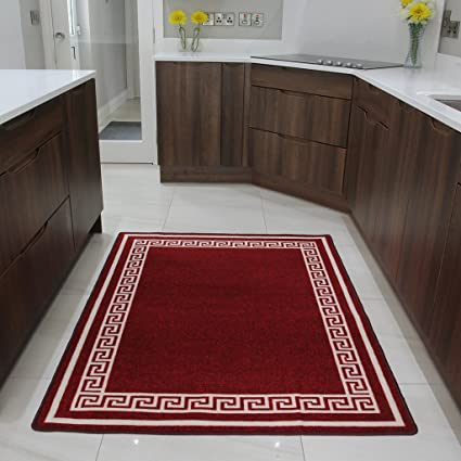 The Rug House Tapis de Cuisine Rouge à Motif Blanc antidérapant Facile à  Nettoyer - 8 Tailles Disponibles