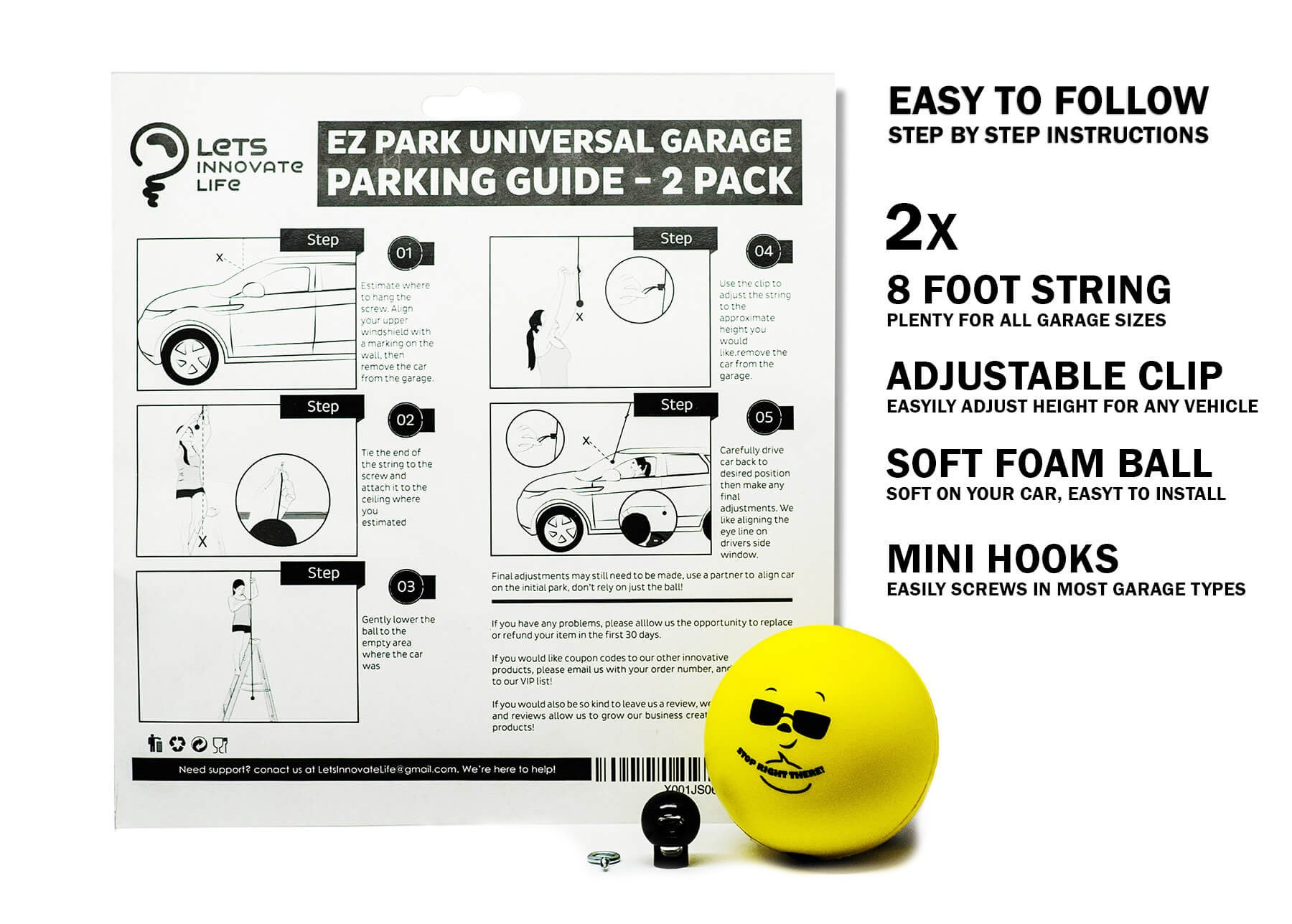 Double Garage Parking Aid - Ball Guide System. Simple to install adjustable parking assistant kit includes a retracting ball sensor assist solution. Perfect Garage Car Stop Indicator for all Vehicles by LetsInnovateLife (Image #2)