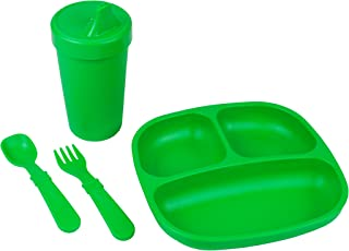 product image for Re-Play Made in The USA Toddler Diner Set | Divided Plate, No Spill Sippy Cup, Utensil Set | Eco Friendly Heavyweight Recycled Milk Jugs - Virtually Indestructible | Kelly Green