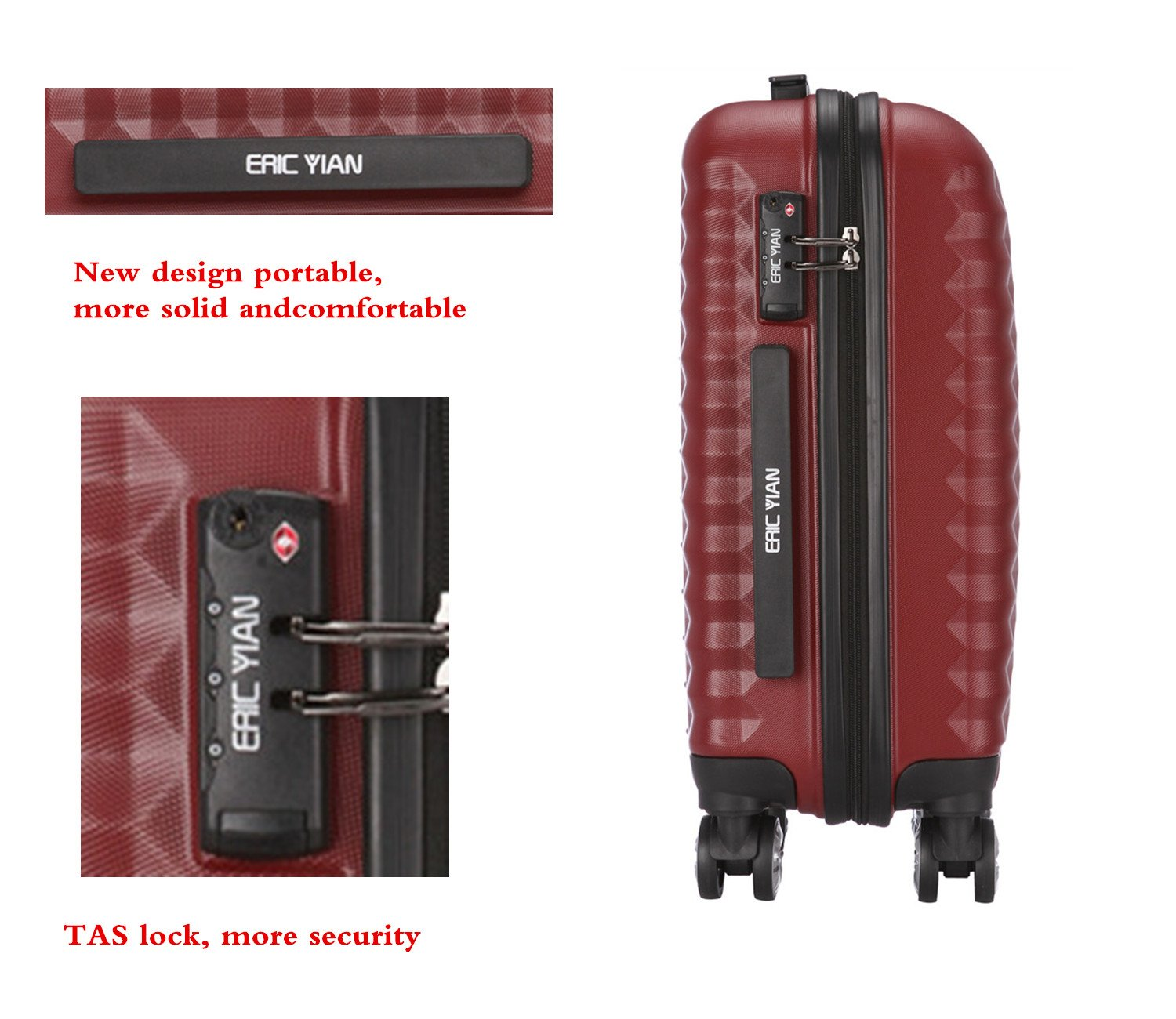Luggage Set 3 Piece ABS Trolley Suitcase Spinner Hardshell Lightweight Suitcases TSA by ERIC YIAN (Image #4)