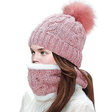 cc5ff58ad Tacobear 2 Piezas Sombreros de punto Mujer Niña Bufanda Círculo Cuello  Gruesa Bufanda Invierno Caliente Gorros