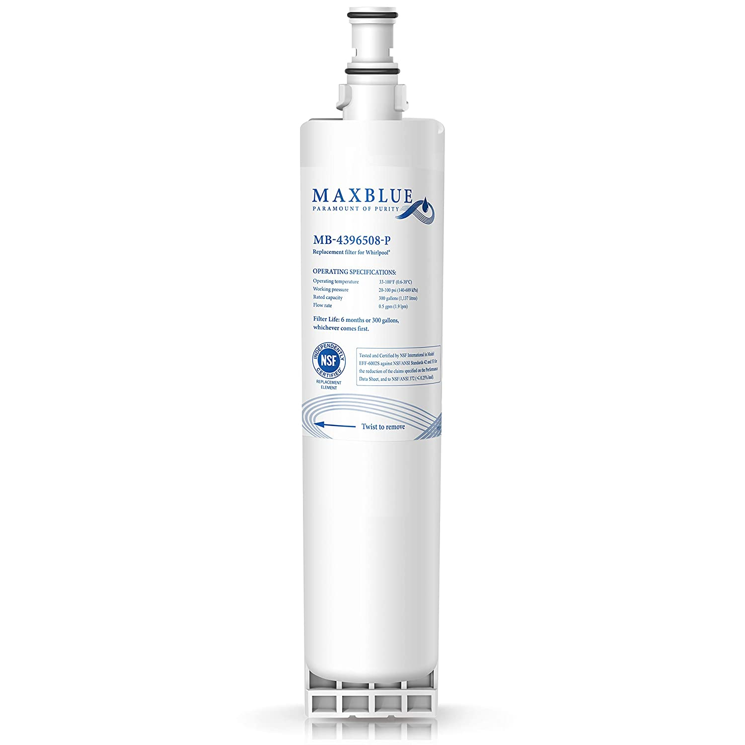Maxblue NSF 53&42 Certified 4396508 Refrigerator Water Filter, Replacement for Filter 5, 4396510, NLC240V, 4396508P, 4392857 WF-4396508, Kenmore 9010,PUR W10186668