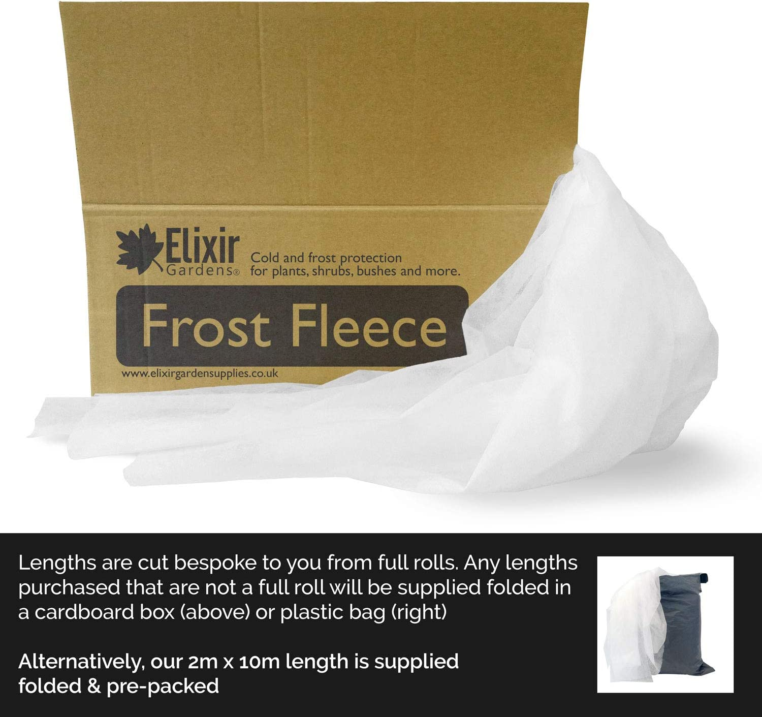 Elixir Gardens 2M Wide Garden Cold//Frost//Wind Fleece for Winter Plant Protection 2m x 5m