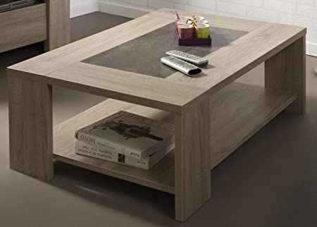 Jumbo Furniture Fumay Coffee Table In Natural Stone With Light Oak