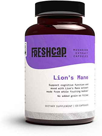 FreshCap Organic Lion's Mane Mushroom Extract Powder Capsules - Mental Clarity and Focus - Brain Boosting Nootropic - 120 Capsules (60 Day Supply) - Pure and Powerful Lion's Mane Extract, No Fillers