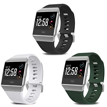 SKYLET Compatible with Fitbit Ionic Bands, 3 Pack Soft Replacement Sport Wristbands Compatible with Fitbit Ionic Smart Watch with Buckle Men ...