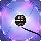 オウルテック PCケース用オリジナルLEDファン 12cm 25mm厚 1600rpm 静音 リブ無し 1年保証 パープル OWL-FE1225LL-PU