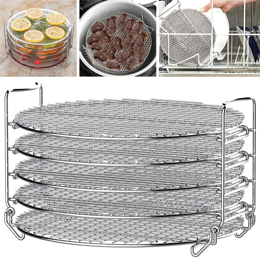 Air Fryer Accessories Air Fryer Grill Stand With Five Stackable Layers Food Grade Stainless Steel Dehydrator Rack Accessories Compatible With Pin Xia, Mizi, Biyi