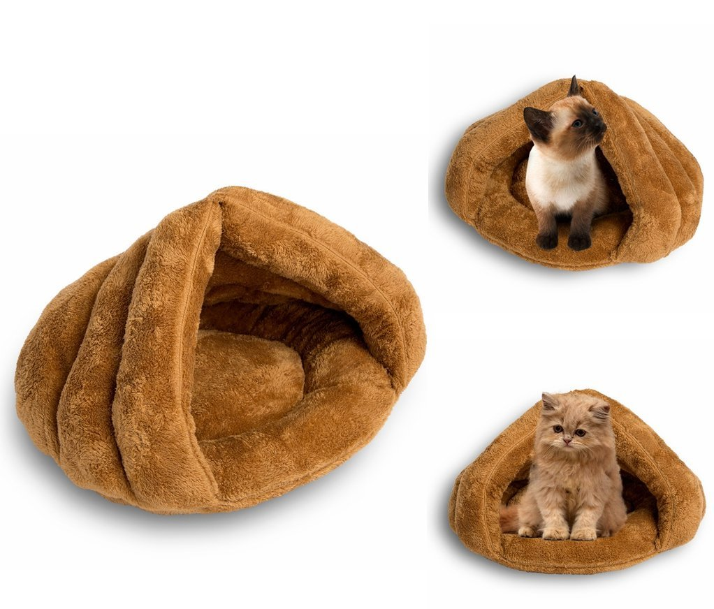 MeiLiMiYu Plush Cat Sleep Bag Zone Pet Cave Bed Cozy Cuddle Pouch Pet Bed Covered Hooded Pet Cave for Cat and Puppies (Brown)