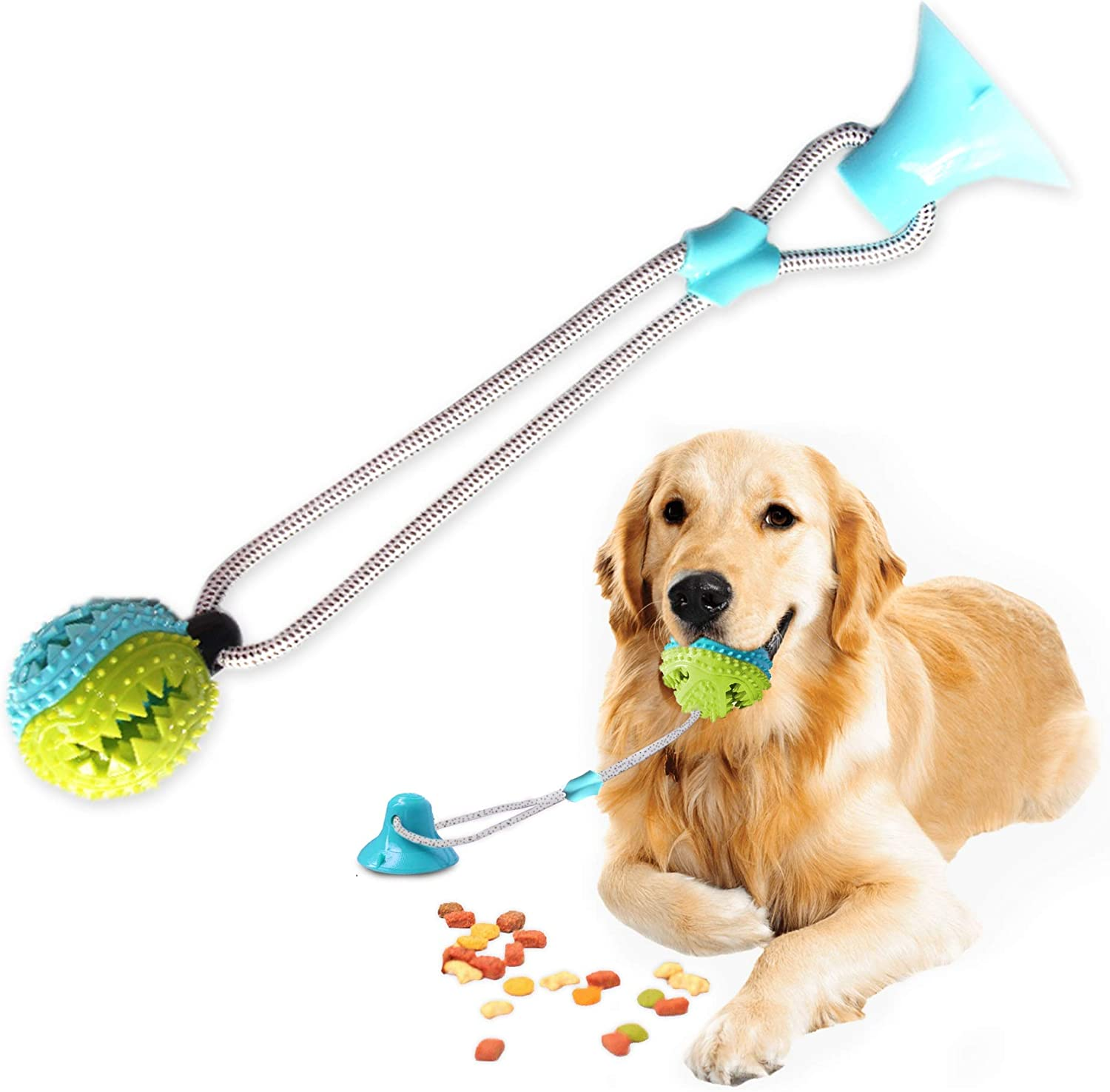 Smart Dog Suction Cup Tug of War Dog Toy, Self-Playing Tug of War Dog Toy with Chew Rubber Ball, Dog Rope Toys for Chewers, Teeth Cleaning Interactive Pet Tug Toy for Boredom