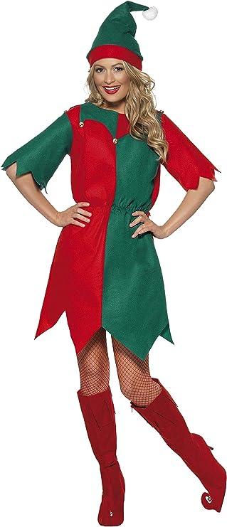 Smiffys Disfraz de elfa con gorro y túnica, Rojo y verde, Large ...