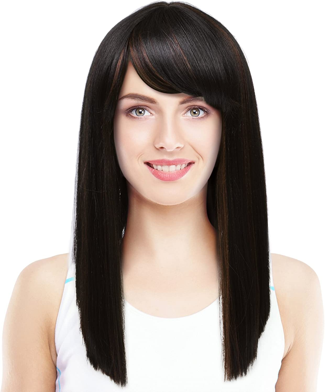 Amazon Com Silky Straight Wig With Bangs Natural Looking Medium Length Blunt Cut Synthetic Full Hair Wig For Women Brown Black Clothing