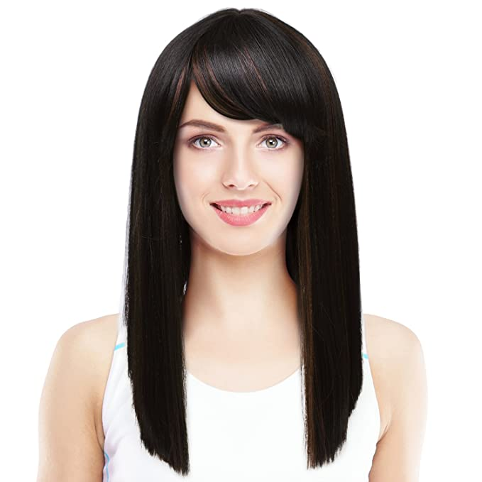 f7b4429f7 Silky Straight Wig Bangs Natural Looking Medium Length Blunt Cut Synthetic  Full Hair Wig Women