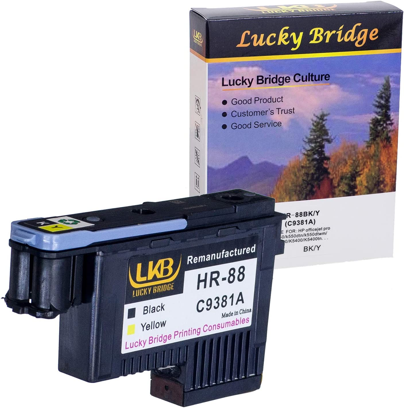 LKB Remanufactured HP88 Printhead C9381A with New and Never Used Chip Replacement for HP Office Jet K5400 L7550 L7580 L7590 L7650 L7680 L7750 L7780 L7790 Printer(1BY) 1PK-US