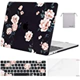 MOSISO MacBook Pro 13 inch Case 2019 2018 2017 2016 Release A2159 A1989 A1706 A1708,Plastic Pattern Hard Case&Keyboard Skin&Screen Protector&Storage Bag Compatible with MacBook Pro 13, Black Camellia
