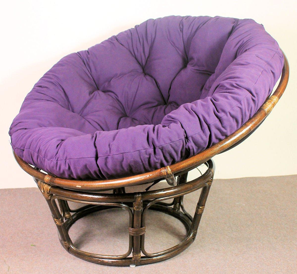Rattan Papasan Sessel inkl. hochwertigen Polster , D D D 110 cm , Fb. darkBraun , Polster violett 2c4121