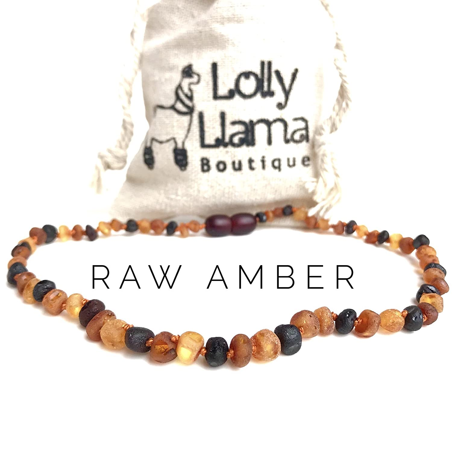 Raw Amber Teething Necklace for Babies (Unisex) Teething Pain Relief - Certified Genuine Baby Baltic Amber Necklace- Tri-Color Lolly Llama